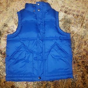 Gap kids boy's warmest blue puffer vest 6 7 jacket